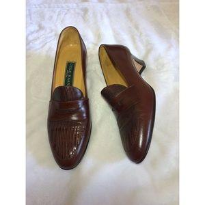 Cole Haan Brown Short Heel Loafers